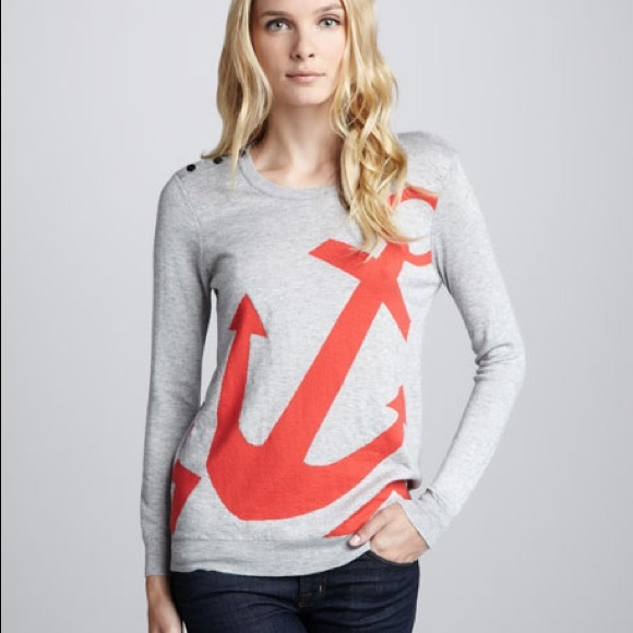 Joie Sweaters - Joie - Gray Red Anchor Pull Over Sweater (small)